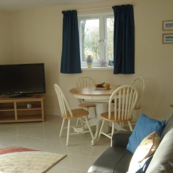 Living room with sofas and dining table